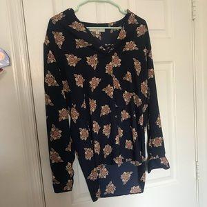 Navy floral Loft blouse